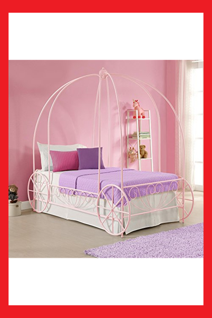 Dhp Metal Carriage Bed Fairy Tale Bed Frame Shabby Chic Style Twin Pink Carriage Bed Princess Carriage Bed Kid Beds