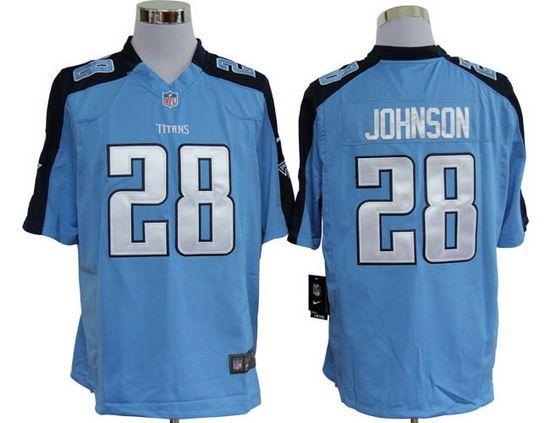 Hot Nike Titans #28 Chris Johnson Blue Team Color Mens NFL Game Jersey