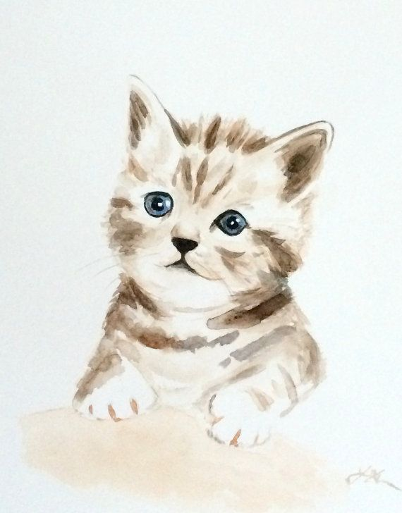 Original Watercolor Painting Kitten Kitten By Colorofchlorophyll