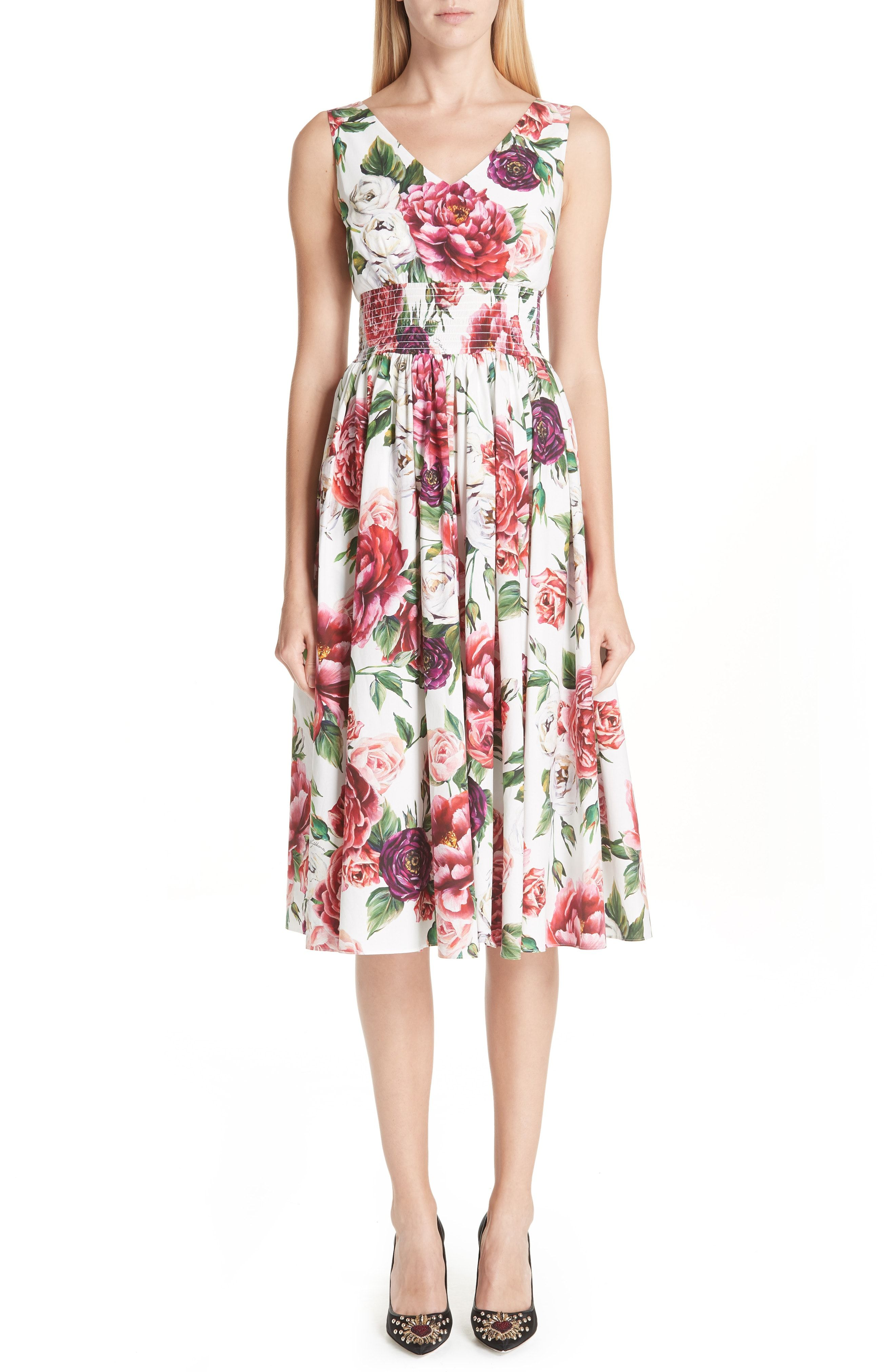 0981d441f5c17 New Dolce amp Gabbana Peony Print Cotton Dress from the most popular  stores. Sku kvyy36648kfvo89823