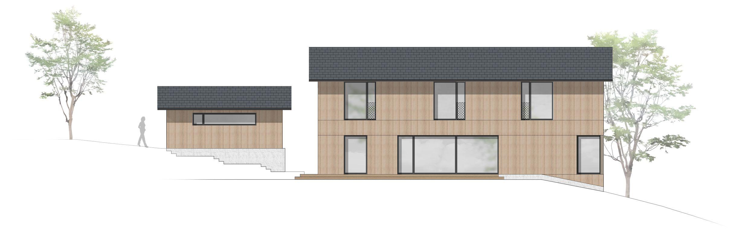Ansicht Süd, Einfamilienhaus, Holzbau, Fassade, Eckfenster