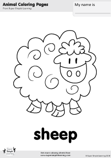 Free Sheep Coloring Page From Super Simple Learning Tons Of Free Animal Worksheets And Flashcards At Coloring Pages Farm Coloring Pages Animal Coloring Books