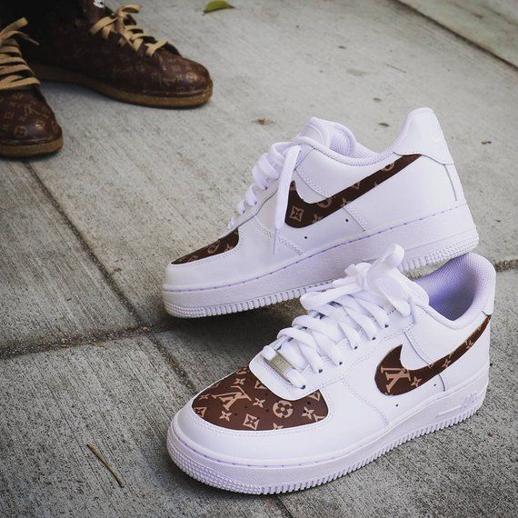 on sale 52dd4 3fb28 Custom Nike Air Force 1 - Brown LV Monogram Print