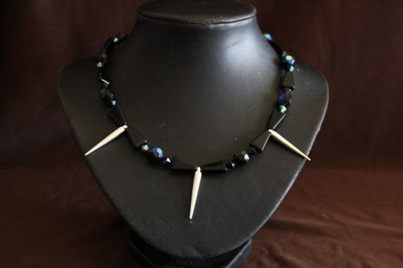 Handmade Black Bead and Silver Spike Necklace by CavettaCreations, $20.00