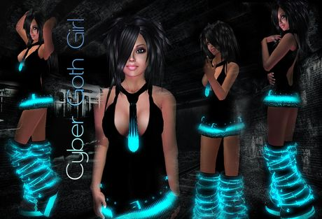 Cyber Goth Girl - blue/black