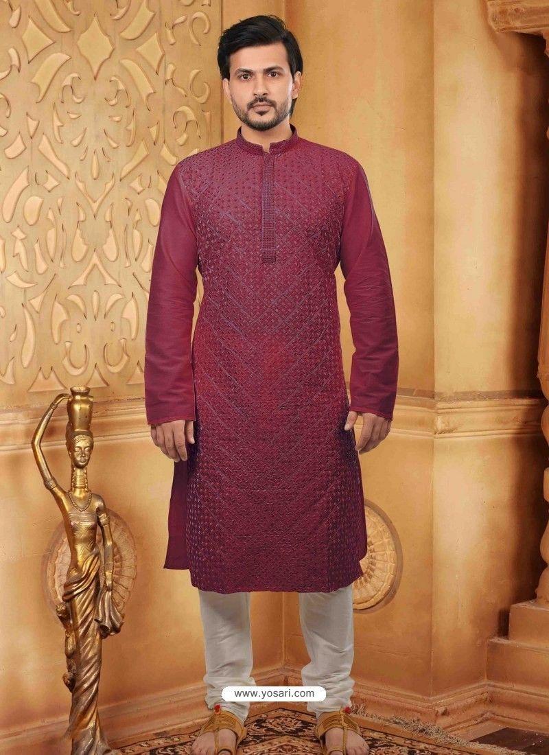 Ethnic Traditional Wear Kurta Pajama Maroon /& Gold Silk Blend Dhoti Kurta Set