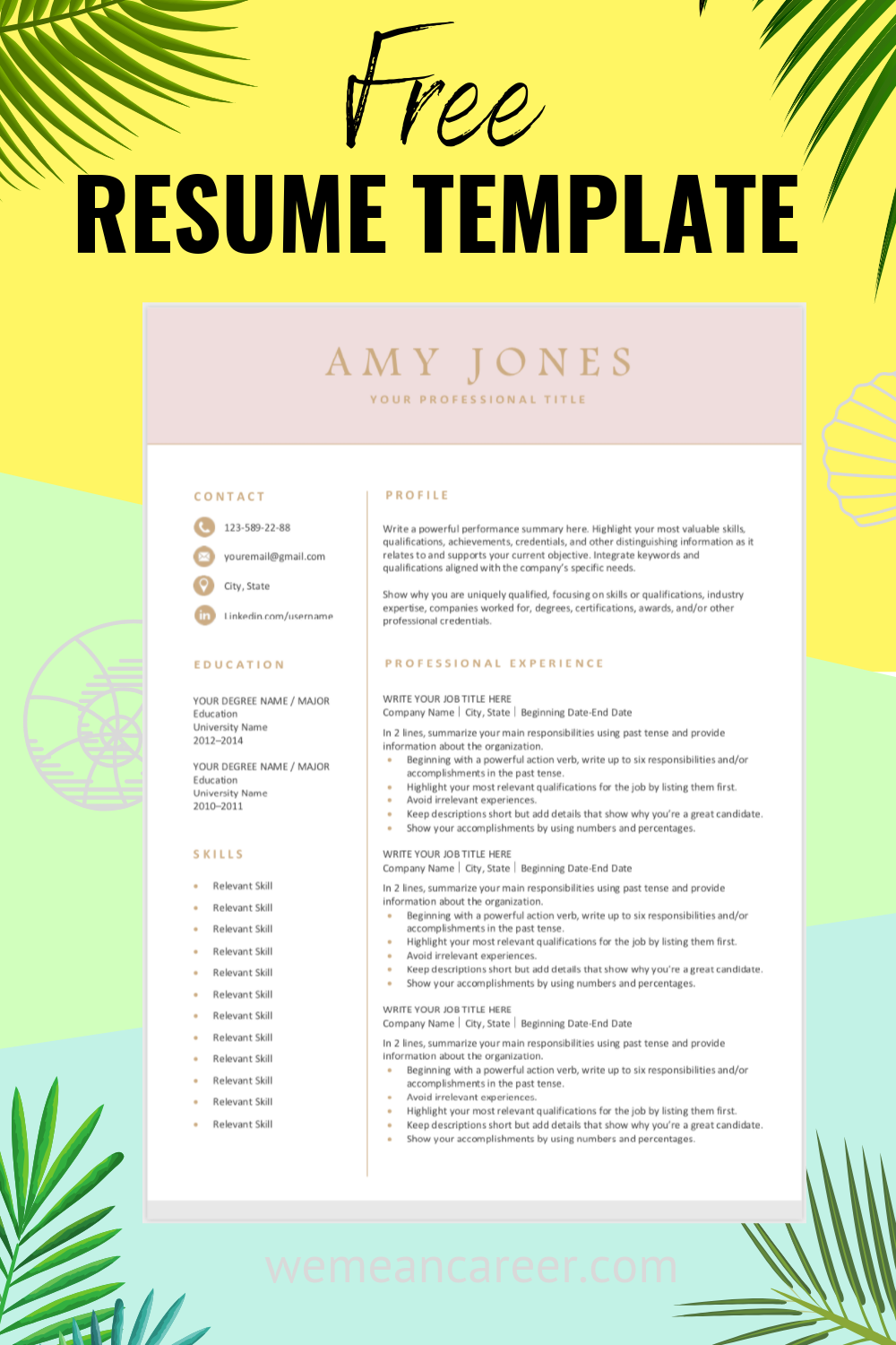 looking for a free  editable resume template  sign up for