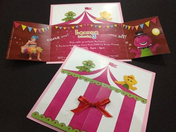 customized party invitation cards barney at the circus theme x 10 by parteeboo - Customized Party Invitations