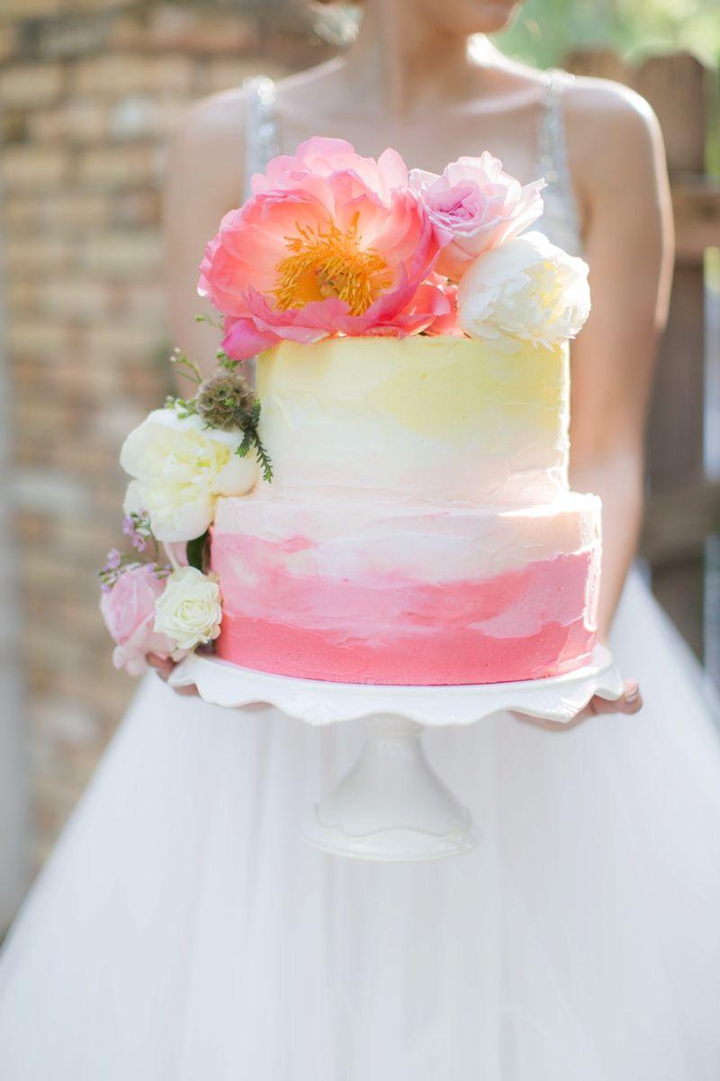 Elegant Pink Garden Wedding Inspiration | Peony, Wedding cake and Ombre