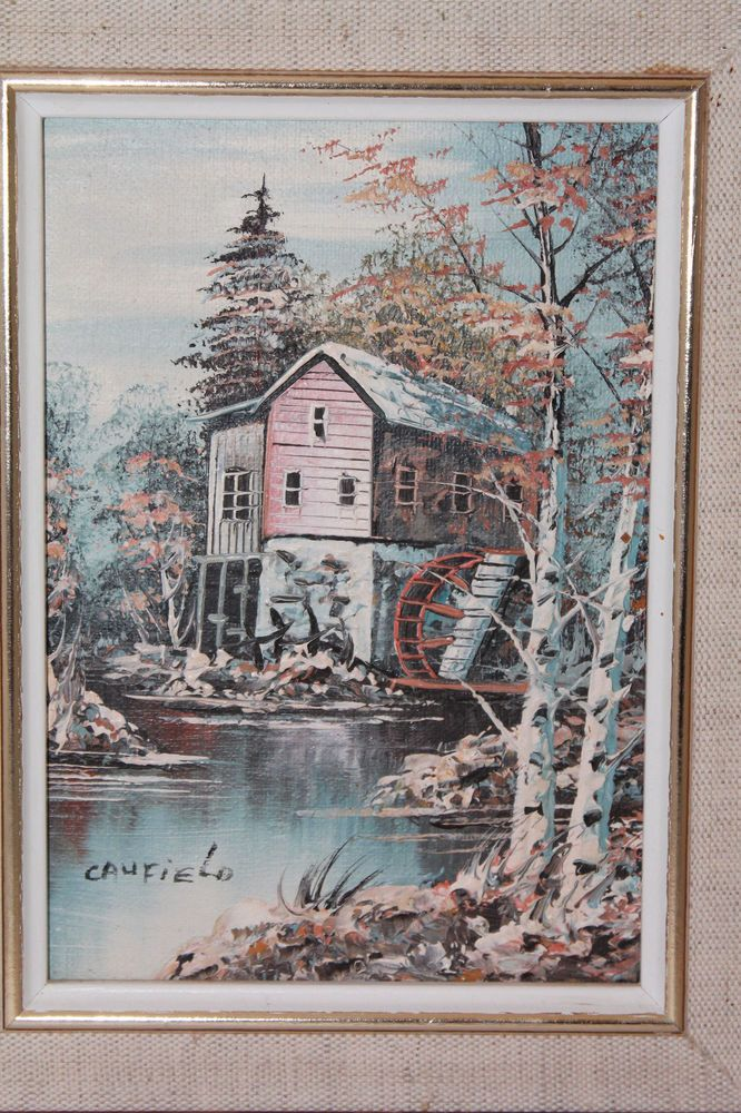 CAUFIELD New England Impressionest Oil Painting Pond Mill Cabin Woods Fall Trees Impressionism