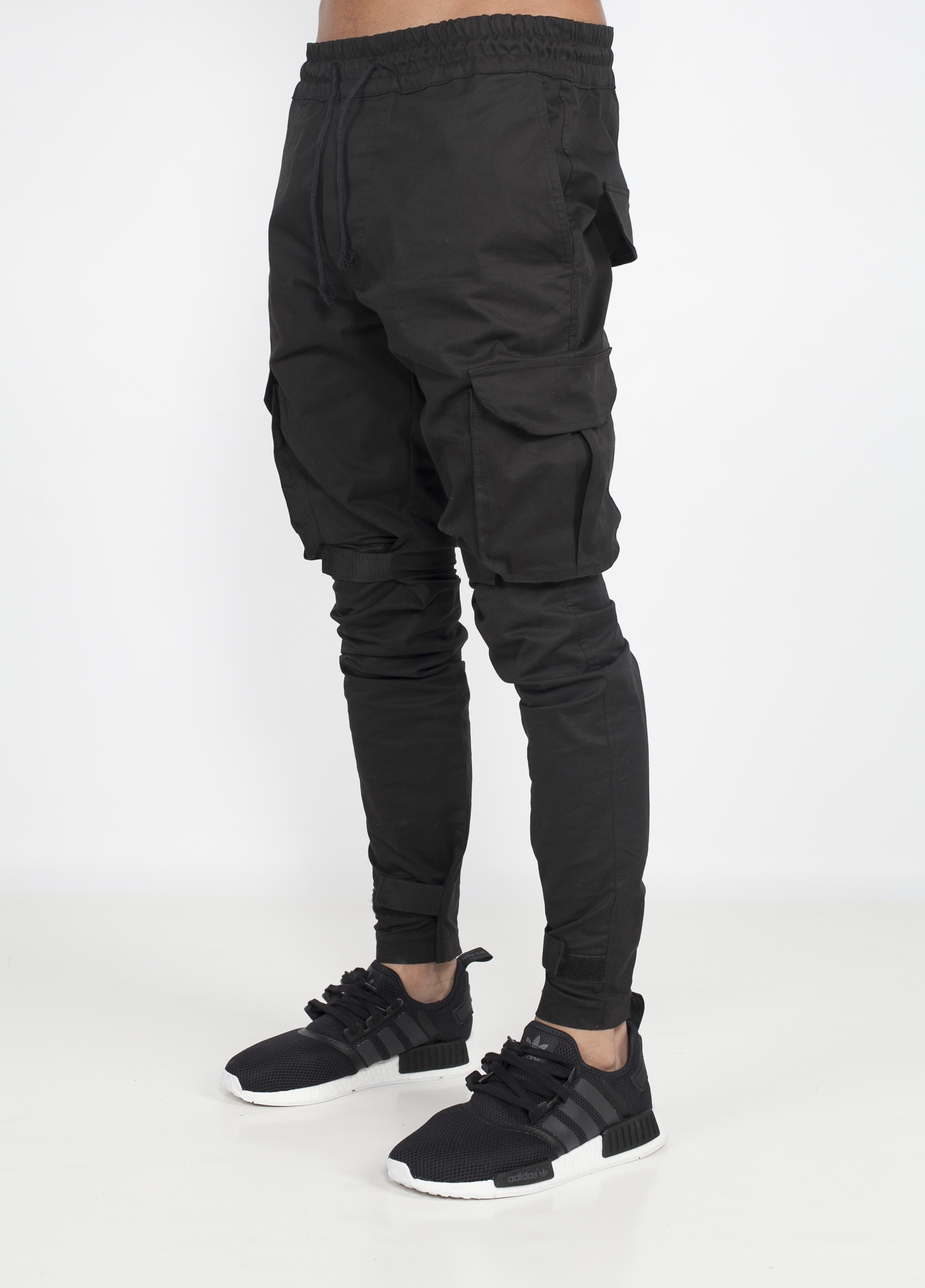Black Cotton pant scratch & Comfy fit Velcro Scratch/Strap on ankles and  knees No fly - No behind PocketsZips on the back of ankles Made in France