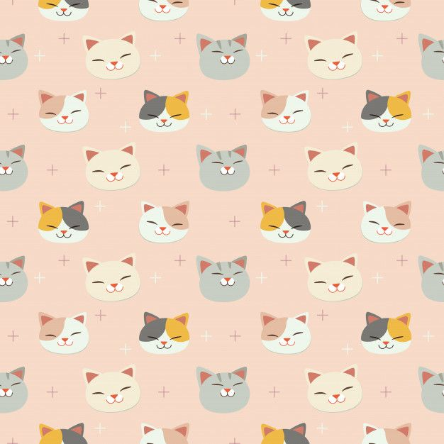 The Seamless Pattern Of Cute Cat Head