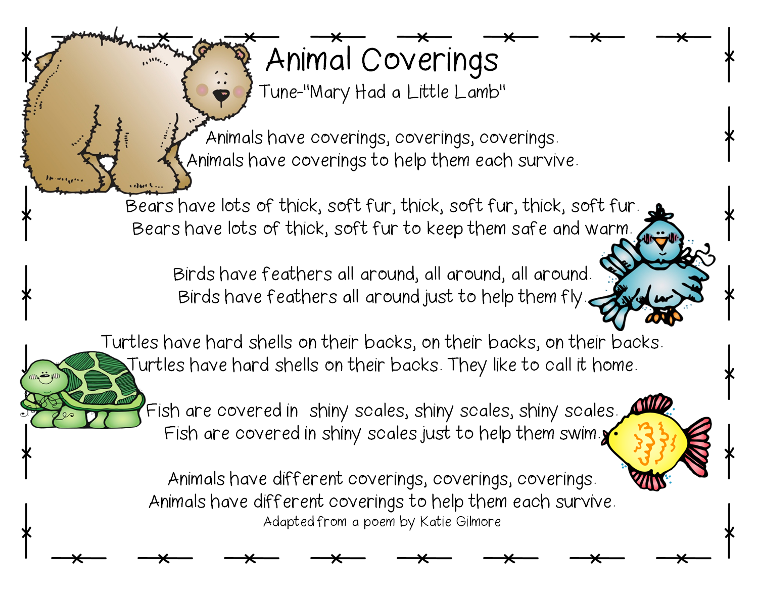 Song Animal Coverings From Cross Curricular Unit On