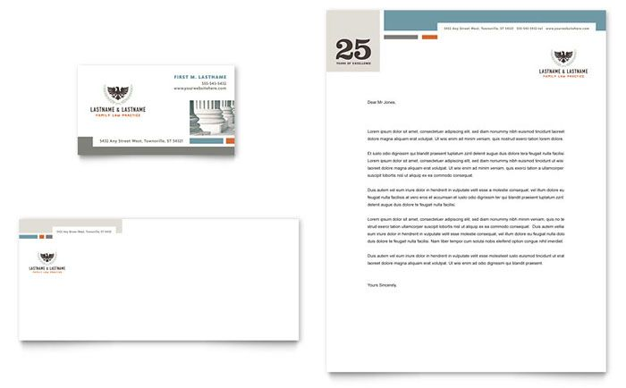 Family Law Attorneys - Business Card \ Letterhead Template Design - legal letterhead template