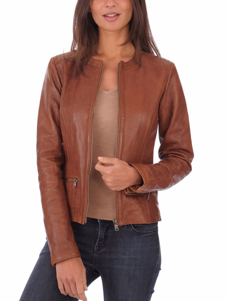 7cab451d4235 New Women Brown Leather Jacket Genuine Lambskin Stylist Bomber Coat Biker  SH-397 #Handmade #BasicJacket