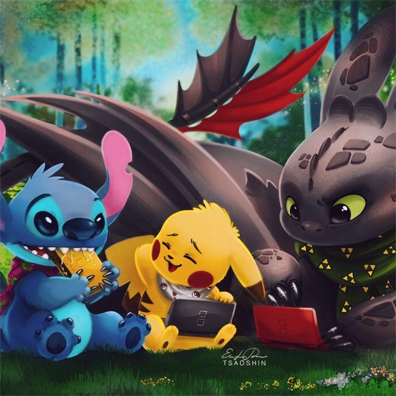 Recolor Stitch And Pikachu Cute Disney Drawings Cute Disney Wallpaper