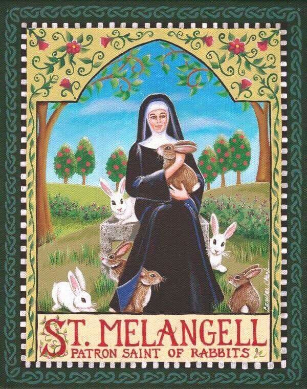 ( - p.mc.n. ) St. Melangell, patron Saint of rabbits