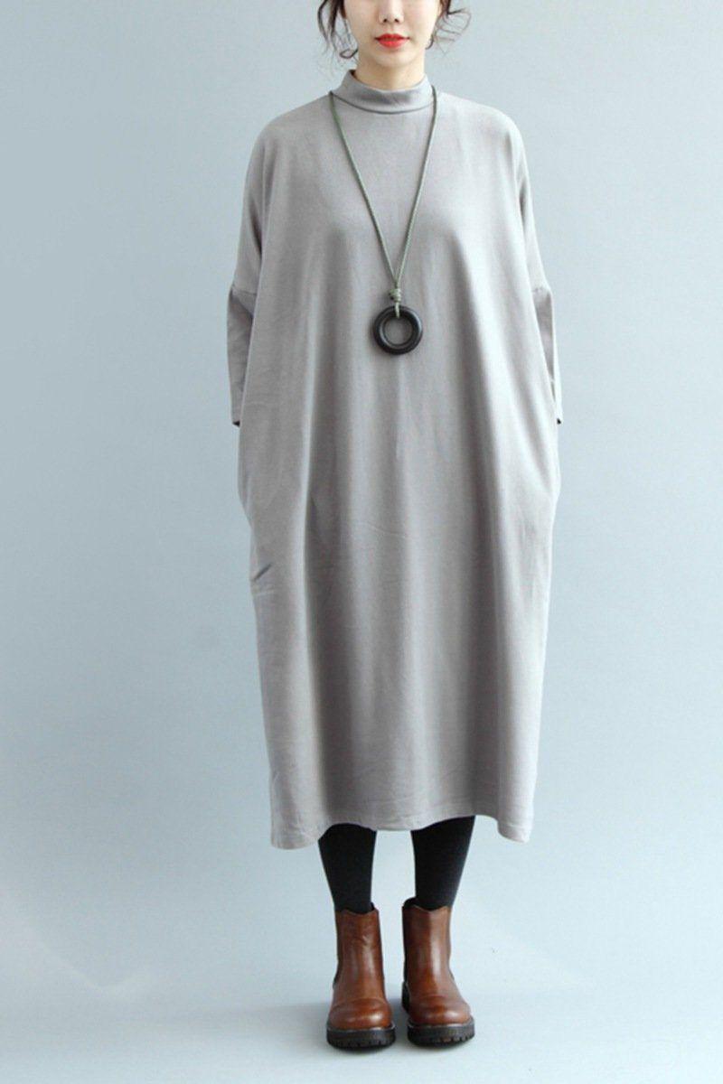 Cotton loose base dress women simple long dress q simple long