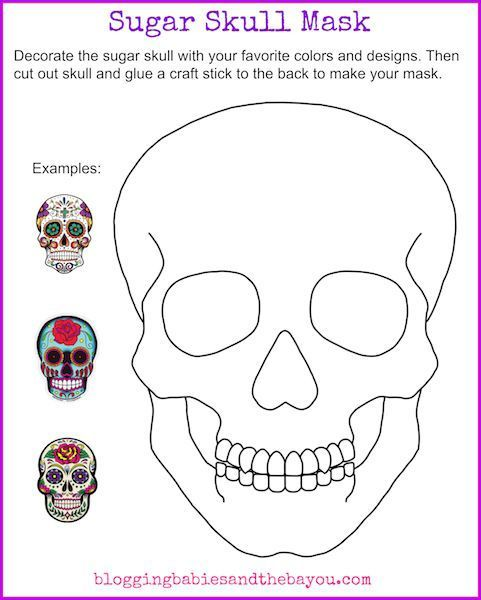 Sugar Skull Mask Printable - Dia De Los Muertos Day of the Dead ...