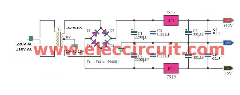 dual 15v power supply schematic with pcb, 15v 15v 1a eleccircuit