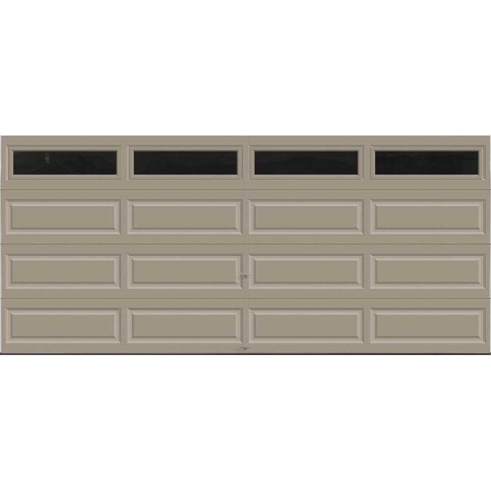 Clopay Classic Collection 16 Ft X 7 Ft 18 4 R Value Intellicore Insulated Sandstone Garage Door With Plain Windows Hdpl20 St Plain The Home Depot In 2020 Garage Door Windows Garage Doors Garage Door Makeover