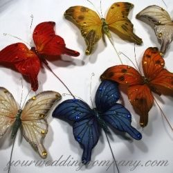 These jewel-toned butterflies make a colorful addition to weddings and other special occasions. Use them as accents in centerpieces, bouquets, pew bows or large favors.