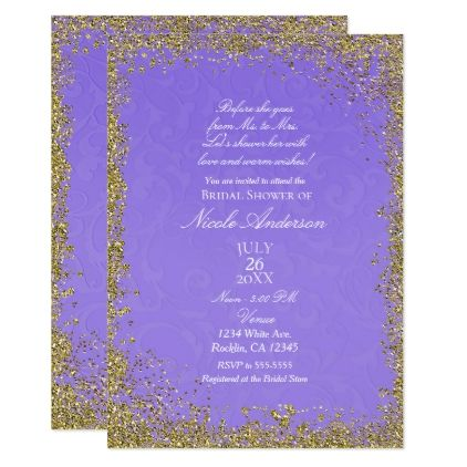 Purple texture gold glitter modern bridal shower invitation purple texture gold glitter modern bridal shower card invitations custom unique diy personalize occasions stopboris Image collections