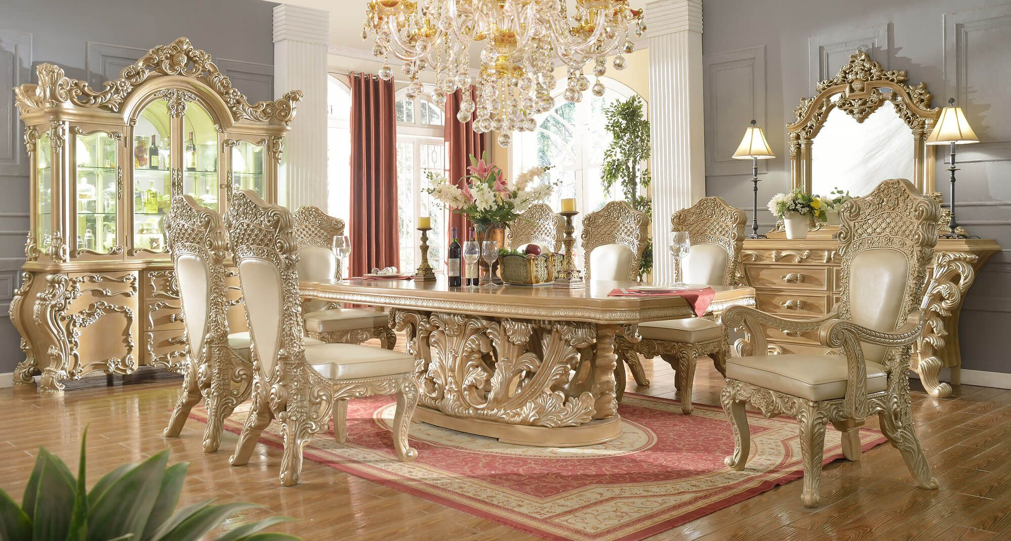 Homey Design HD 8017 Cleopatra Round Dining Set The elaborate