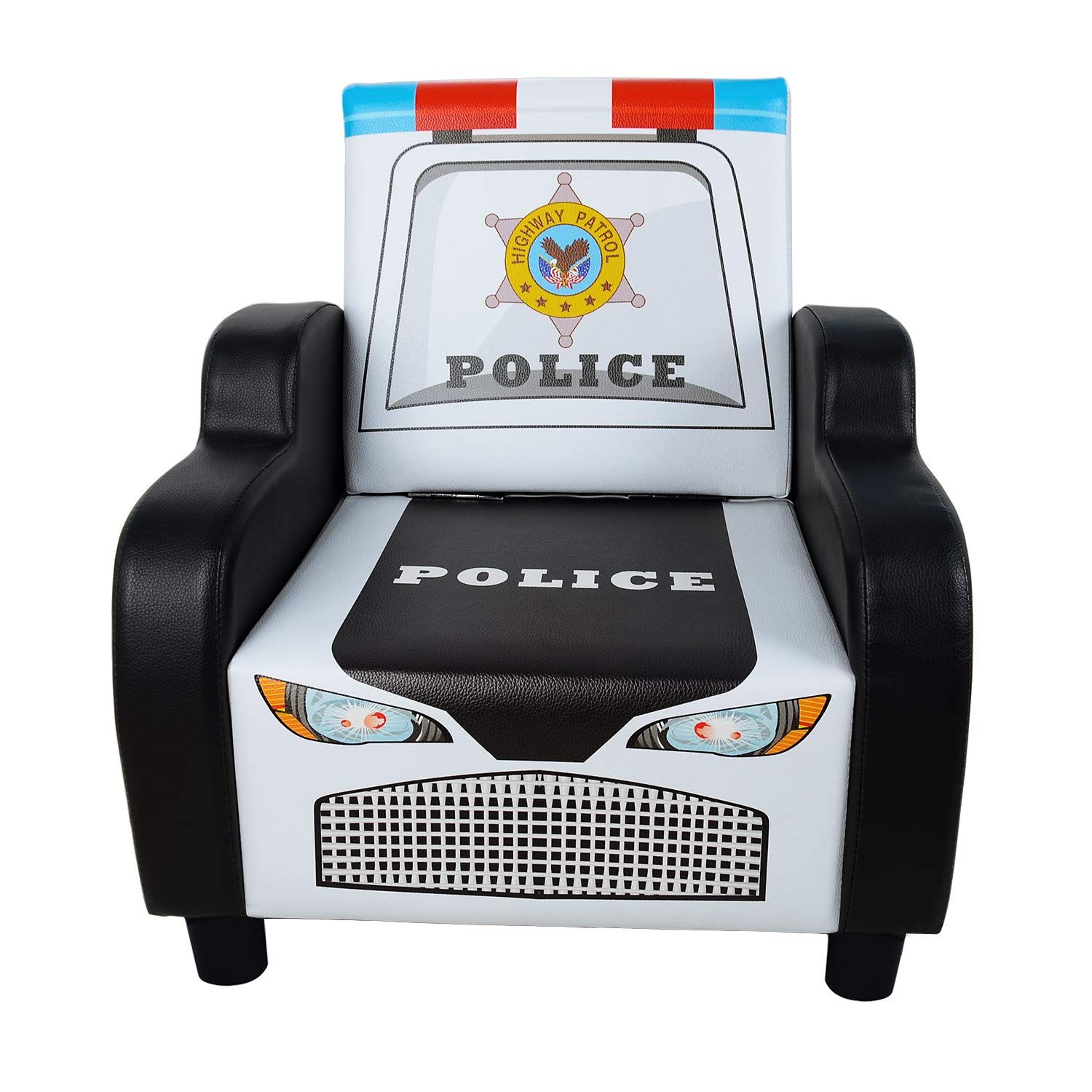 Children S Police Car Shape Sofa Chair Black Kid S Armrest