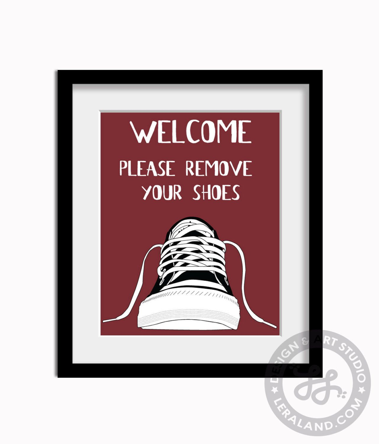 Welcome please remove your shoes, 11x14 or 8x10, Converse shoe, Sign pop art