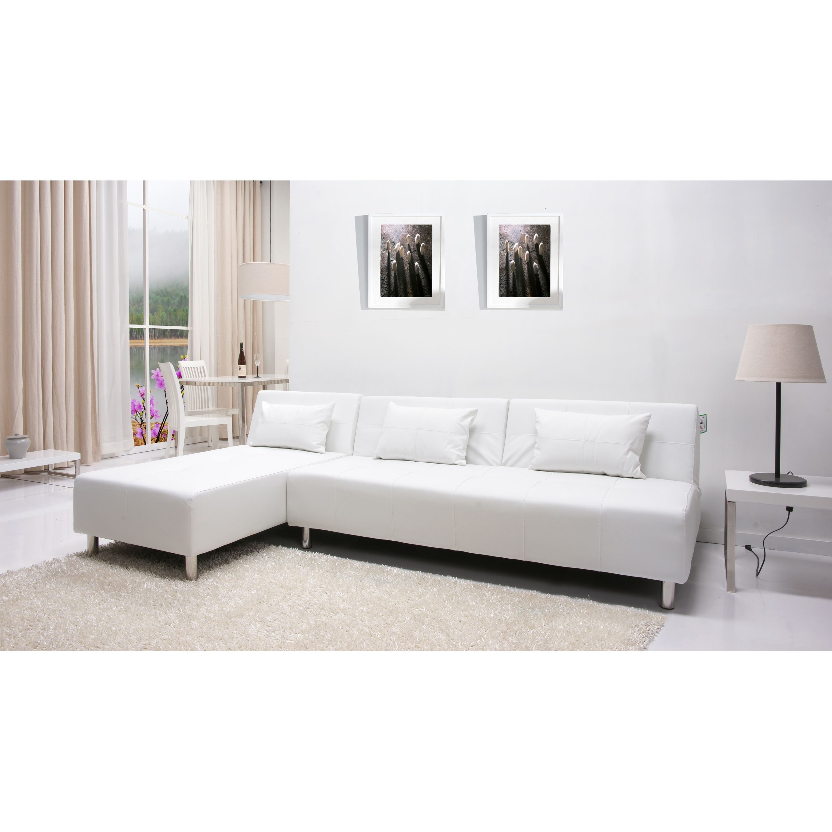 Gold Sparrow Atlanta White Convertible Sectional Sofa Bed