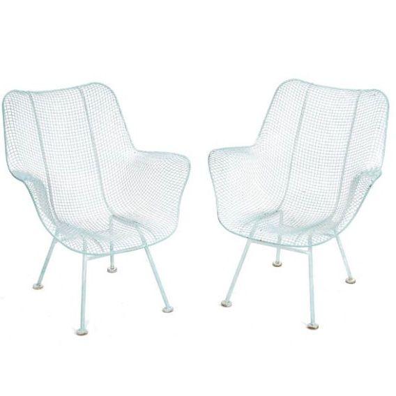 Set Of Russel Woodard White Metal Outdoor Chairs