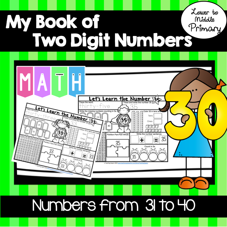 Interactive Two Digit Numbers 31 To 40 Worksheets Place Value Distance Learning Math Numbers Place Values Interactive