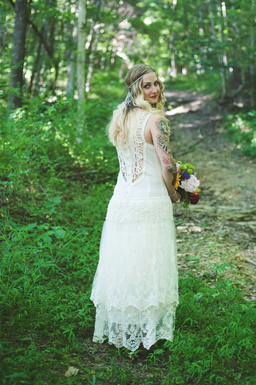 Beautiful bohemian bride she added lace skirt to one of my boho