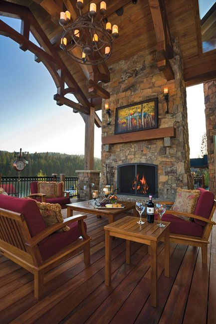 Covered Deck Voguehome Org Outdoor Fireplace Designs Fireplace Design Rustic House