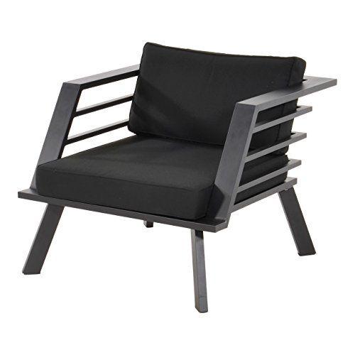 Loungestuhl, Alu, Spun-Polyester Kissen in schwarz, Wetterfester
