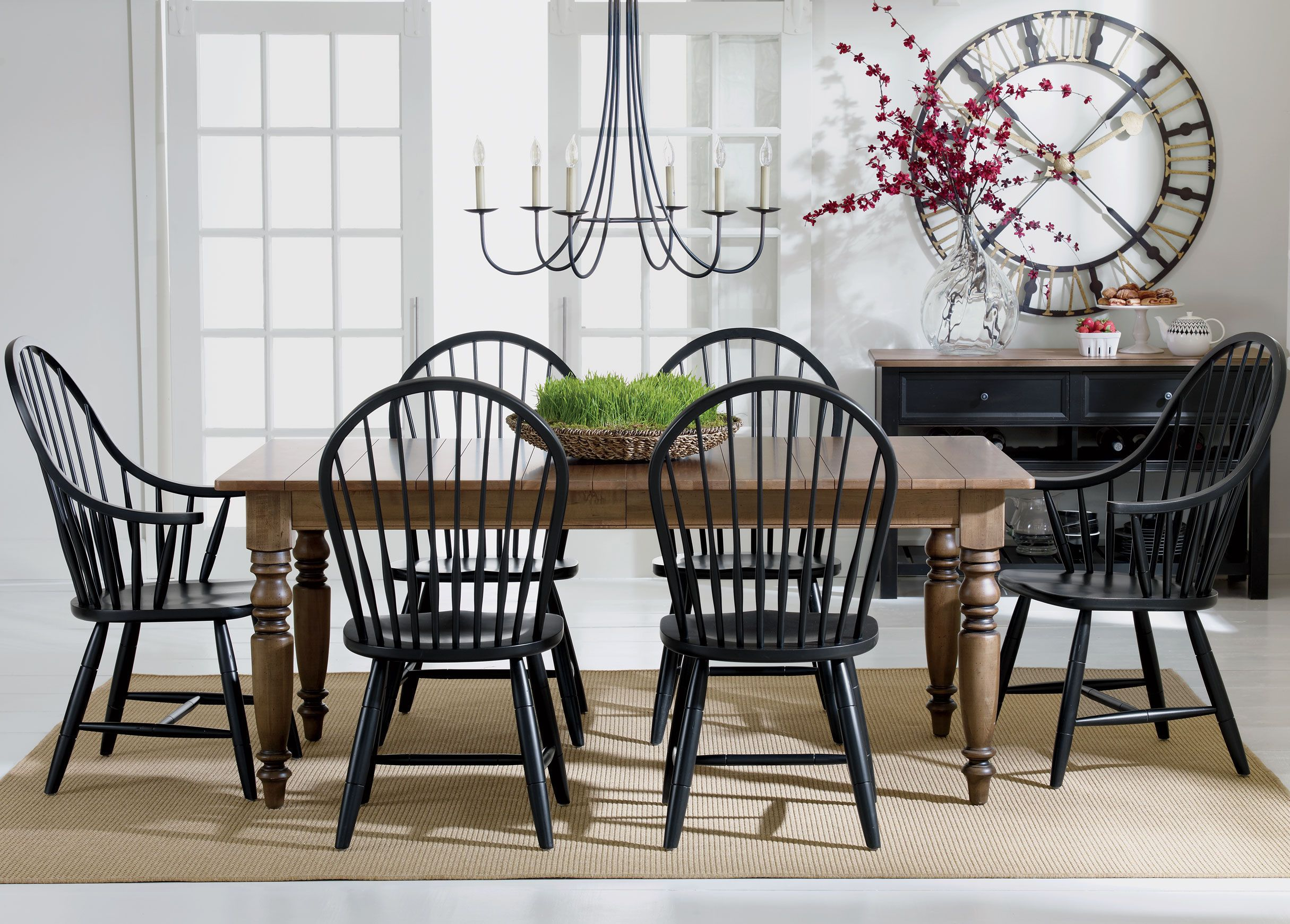 Ethan Allen Miller Large Dining Table Black Windsor Chairs Black