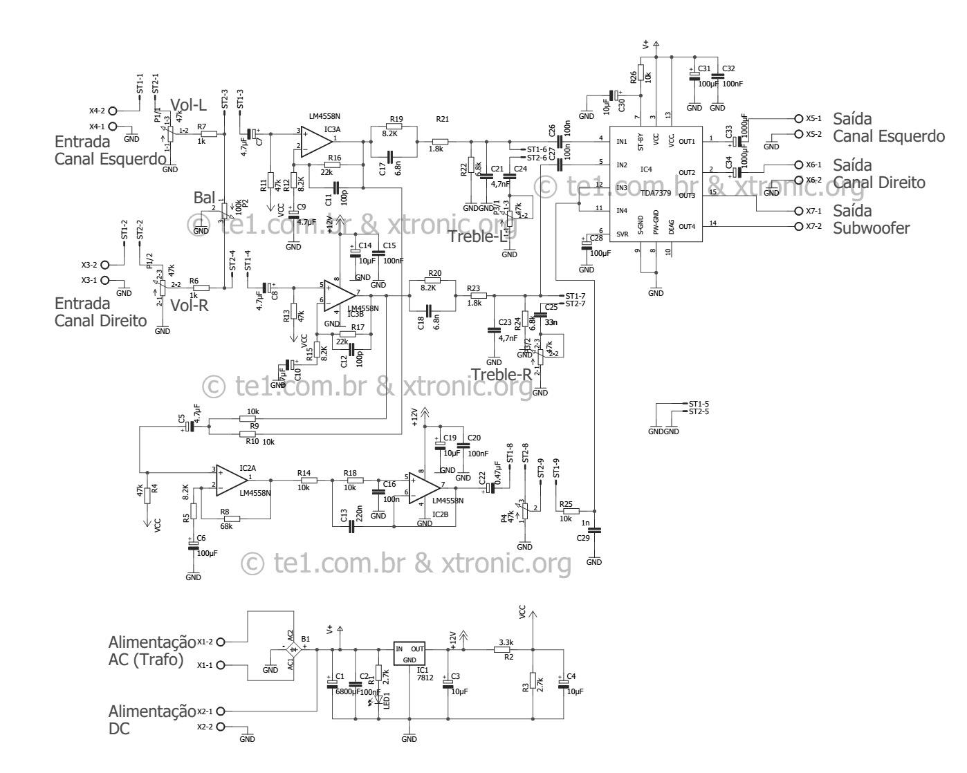 Circuit Power Audio Amplifier With Tda 2 1