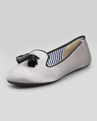 Tassel Satin Smoking Slipper, Silver by Charles Phillip Shanghai at Neiman Marcus.