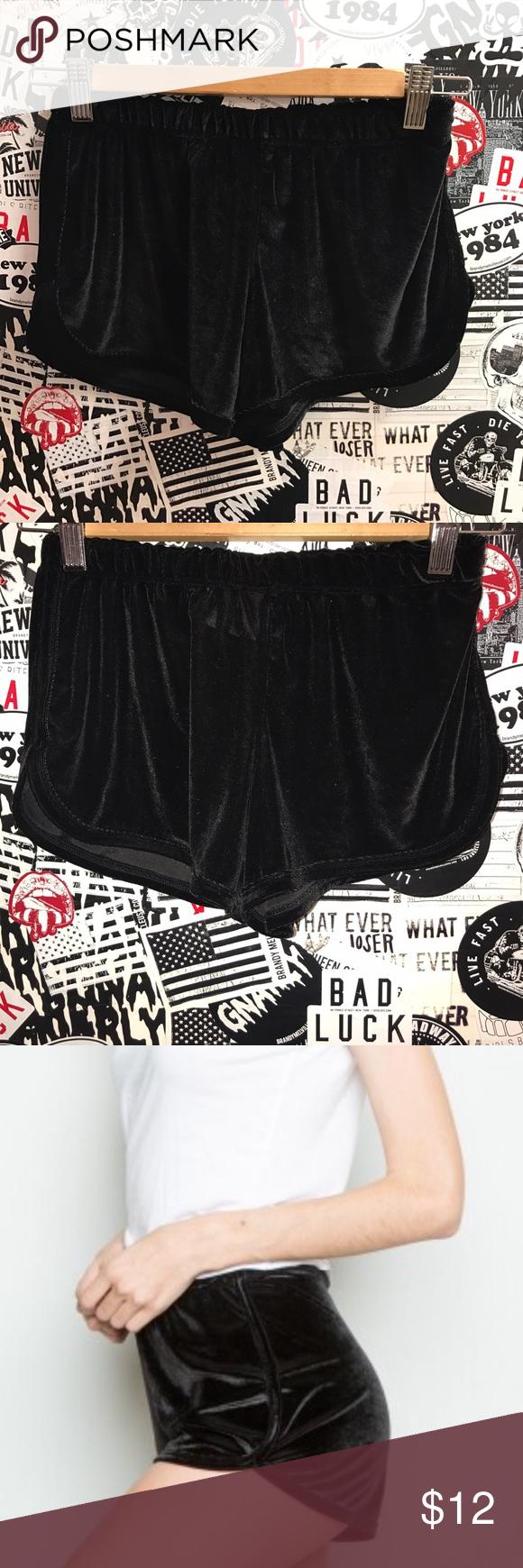 Brandy Melville Velvet Shorts Black velvet track shorts size Sm-Med Brandy Melville Shorts