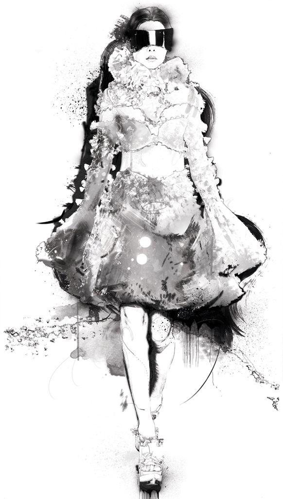 Fashion illustration of model in an Alexander McQueen