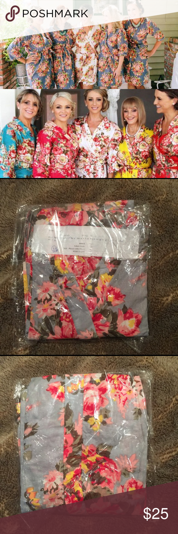 Cotton Floral Robe Floral Print Kimono Style Robe | Wrap Style with Interior Ties to Hold Shut | Belt | Knee Length | Size Medium (but sizing is flexible due to style) | Grey Ground Color with Beautiful Colorful Flowers | New in Packaging | Never Worn | One of my bridesmaids was unable to attend so I have an extra leftover! | Last photo is my actual bridesmaids in this Robe color. Intimates & Sleepwear Robes