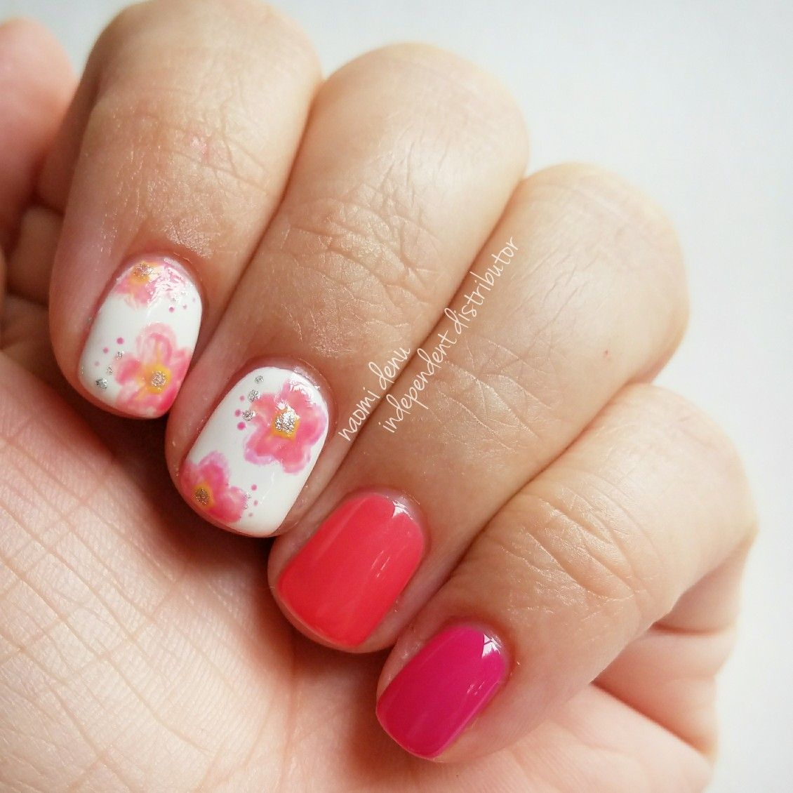 Floral nail art using GelMoment Lady in a Dress, GelMoment ...