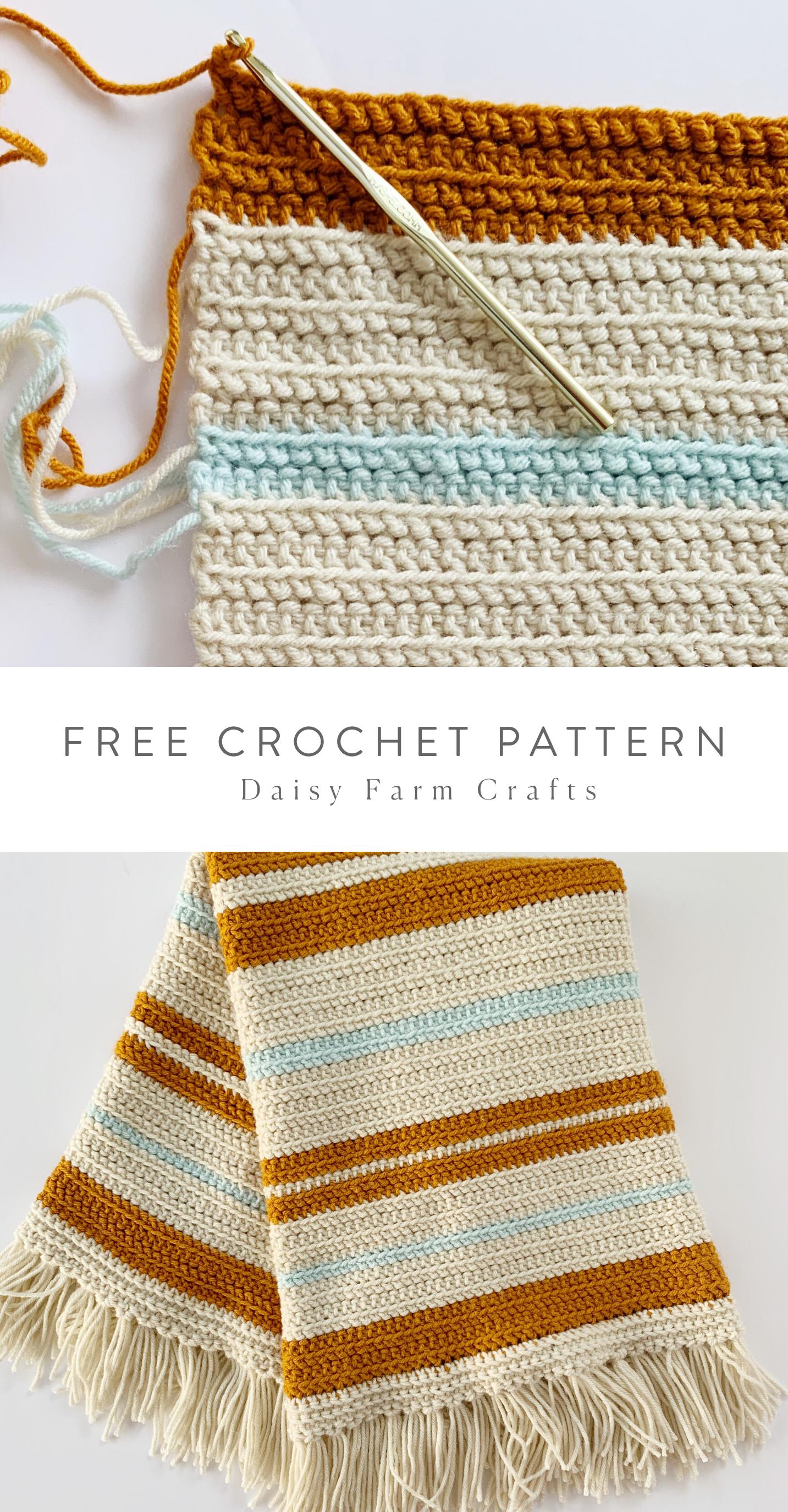 Free Pattern - Crochet Vintage Fringe Stripes Blan