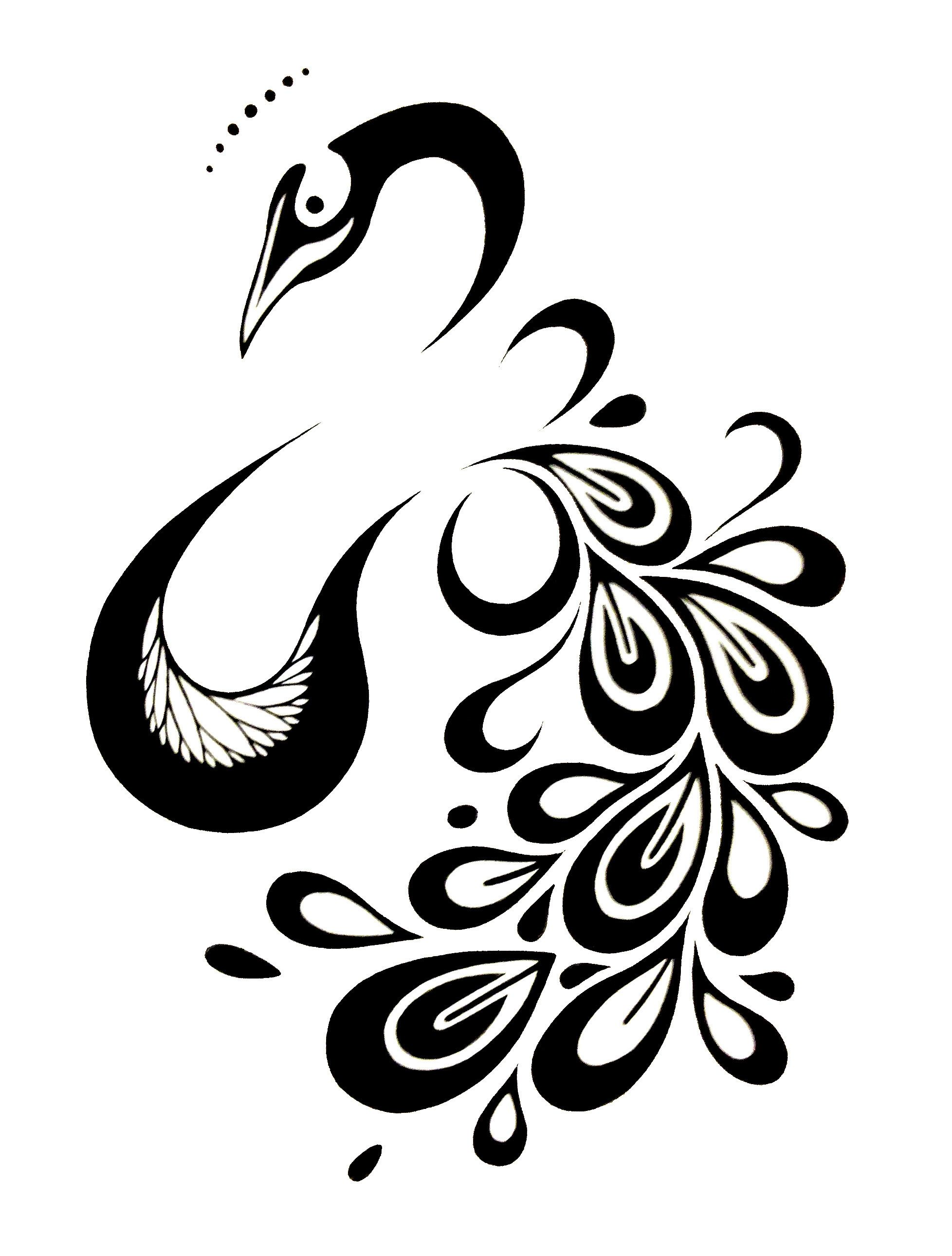 Image result for peacock tattoo black and white | Peacock ...  |Peacock Tattoo Black And White