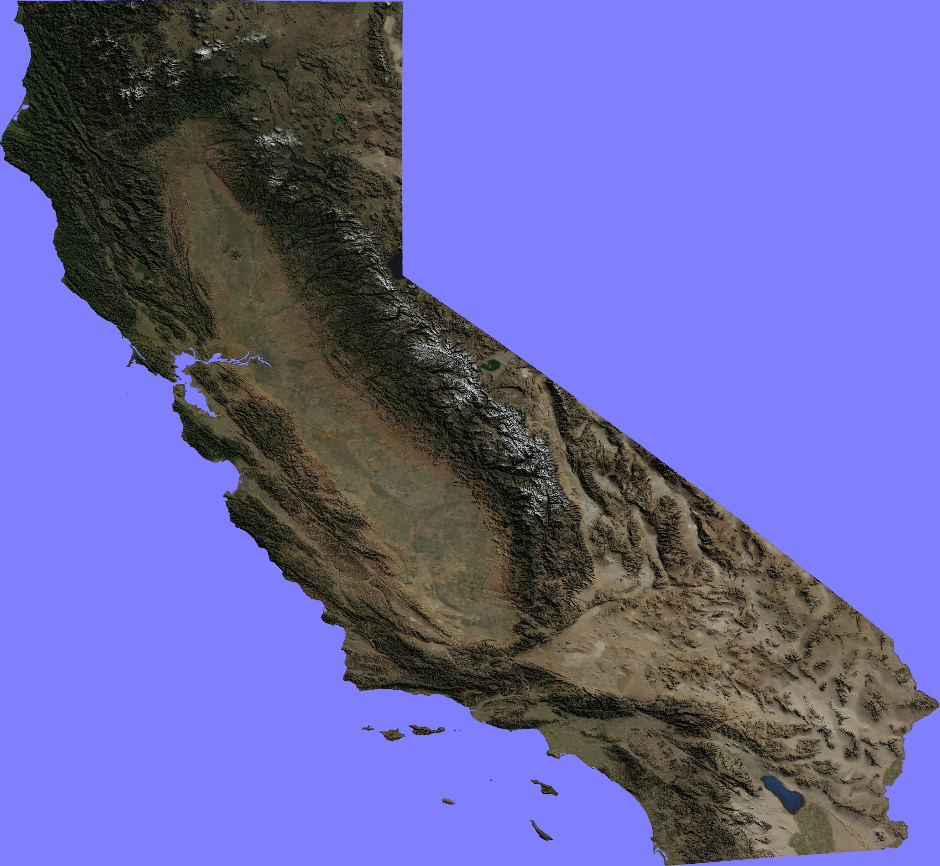 Topographic Map Of California Topographic Map - Elevation map of california