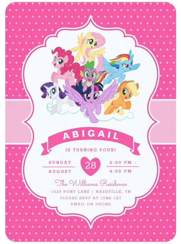 My Little Pony Pink Birthday Invitation Zazzle Com Birthday Invitations Birthday Invitation Templates Birthday Cards For Boyfriend