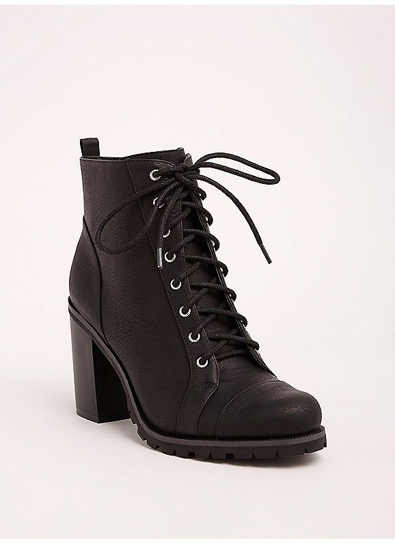 b69a79bae07 TORRID : Lace Up Heel Combat Boots (Wide Width) | Fashion in 2019 ...