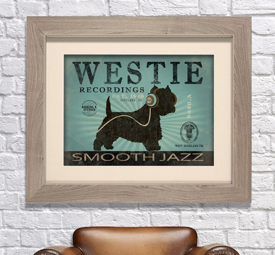 Westie dog Records canvas print. Lovely rustic feel. You can personalise this print with your own dog's name and even choose your own colour to match your walls at home! www.monkeyofthenorth.co.uk
