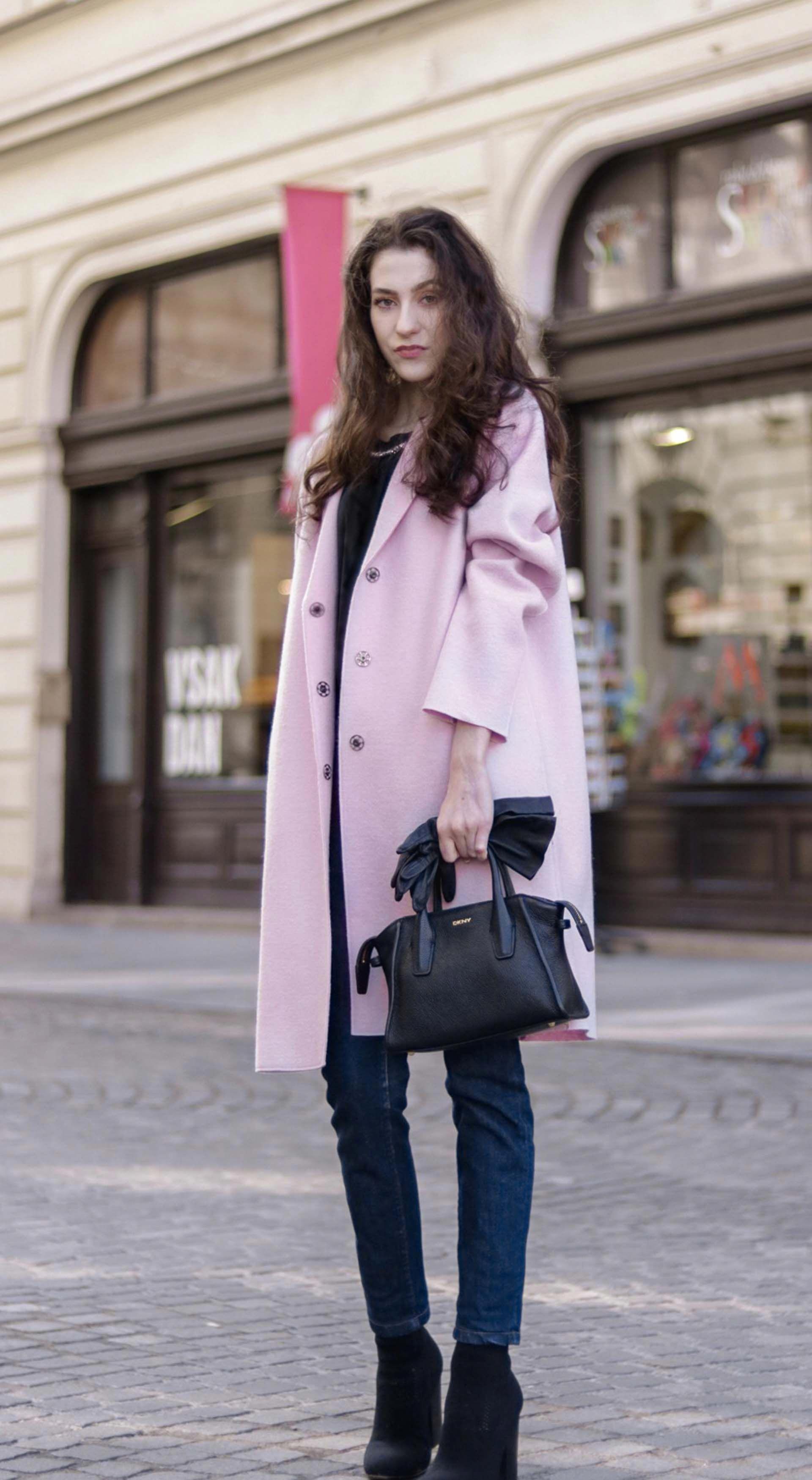 3de8062e0e3 Beautiful Slovenian Fashion Blogger Veronika Lipar of Brunette from Wall  dressed in Harris Wharf London pink oversized coat